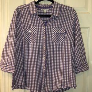 Croft & Barrow XL button front blouse purple white